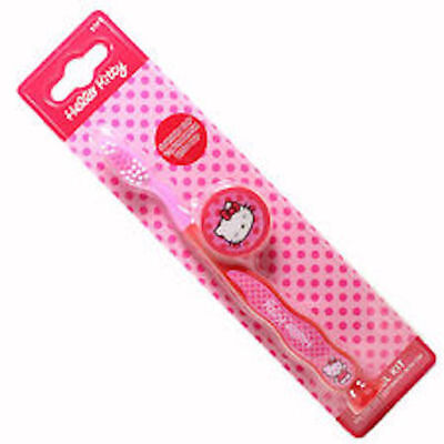 ** Hello Kitty Toothbrush With Cap And Suction Cup New * Travel Tooth Brush