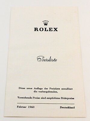 Vintage Rolex Preisliste Februar 1960 Deutschland Katalog price list in german