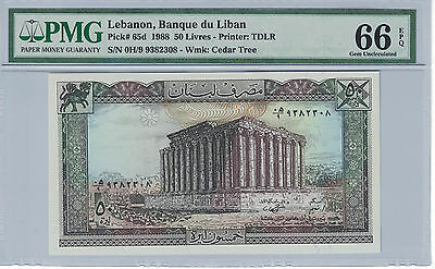 BANK of LEBANON 5 LIVRES 1988 PICK# 65d  PMG-66 EPQ ( #675 )