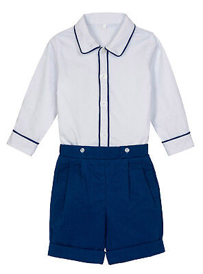 Aurora Royal Navy Blue Short & White Classic Shirt Buster Suit