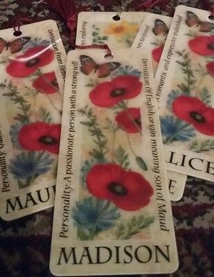 personalised bookmark with name and meaning definition