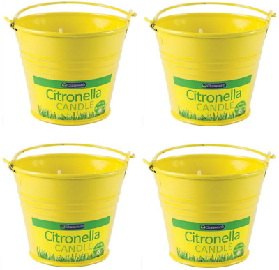 Yellow Mini Buckets Citronella Candle Handle Garden Fly Bugs Repellent Patio BBQ
