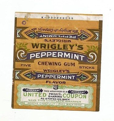 Vtg 1920's Wrigley's Peppermint Chewing Gum Wrapper