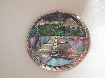 Signed MRM Mexico 925 Sterling Silver Abalone Aztec Medallion Pin Pendant.