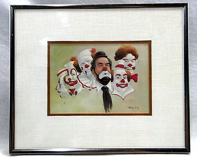 Robert Owen Signed Painting of 6 Clowns Picture Print Framed