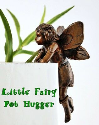 HAND-PAINTED RESIN MINIATURE LITTLE FAIRY POT HUGGER FIGURINE for POTTED PLANTS