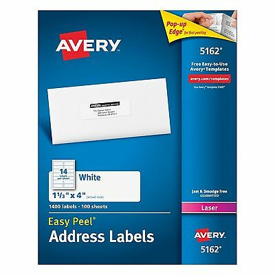Avery 5162 Mailing Labels 1.33 X 4 Inches, 14 Per Sheet 20 Sheets 280 Labels