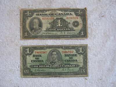 Two (2) Canadian $1.00 (1935/1937) Collector Items