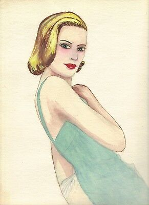 ABSOLUTE VINTAGE, original Haute Couture sketch by Marie Sara (1909-2009)