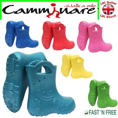 Kids Boys Girls Camminare LIGHTWEIGHT Rainy Wellies Wellingtons Boots Frog