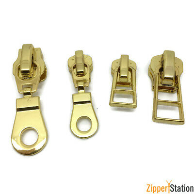Gold No8 and No5 Zip slides, pulls, fastenings for metal zipper