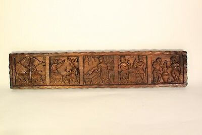 Antique Redwood German Traditional Dutch Carved Wood High Relief Panel Plaque