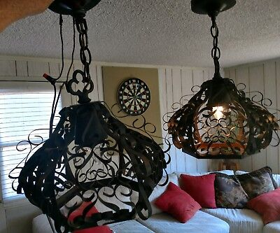 Vintage 2 Hanging Lights Porch Entry Swag Lamp Fixture Arts and Crafts Mission