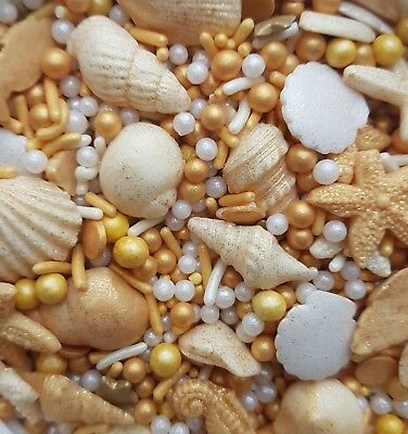 50g gold pearl Mermaid Princess sprinkles,edible cupcake toppers.shell,beach