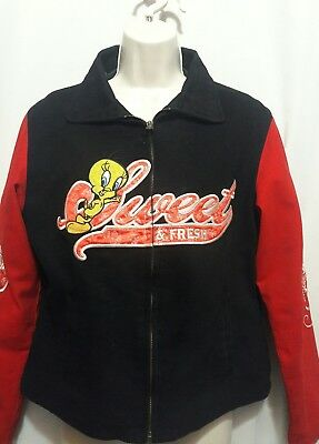 Looney tunes tweety bird jacket sz L zip front black red pink