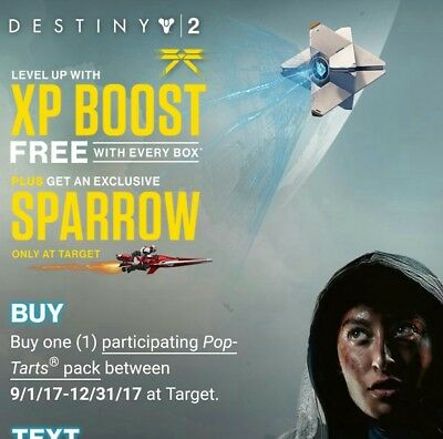 Target Pop Tarts Destiny 2 SPARROW Athena Victorious and XP Boost Code Receipt