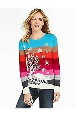 Nwt $90 Talbot's Multicolor Striped Holiday Reindeer  Sweater Medium