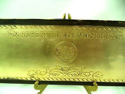 Antique Old Brass Plaque Reserved for Master London Nautical Ship Sign  Large