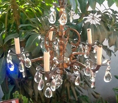 Spanish Brass Crystal Chandelier c1950 Vintage Antique French Style Ceiling Lamp