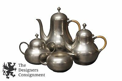 Vintage Royal Holland KMD Daalderop Tiel Pewter Tea Coffee Pot Set Service