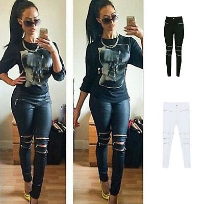 Women Denim Skinny Zipper Pants High Waist Stretch Jeans Long Pencil Trousers