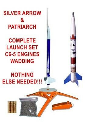 Estes Rocket COMPLETE Launch Starter Set Silver Arrow & Patriarch Engines & Wad