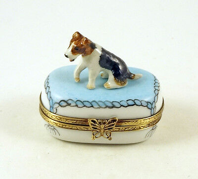 New Hand Painted French Limoges Trinket Box Fox Terrier Dog Puppy On Blue Rug