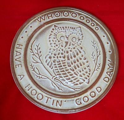 Older Frankoma Whooo Owl Trivet Have a Hootin Good Day Coffee Teapot Stand 6 1/4