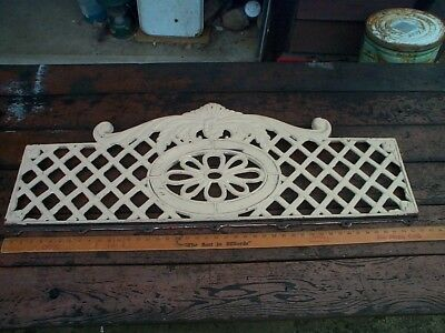 Antique Ornamental Fancy Pediment Panels Cast Iron Scrollwork Weave Window Guard
