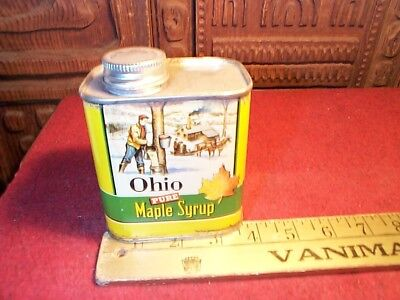 Vintage Ohio Pure Maple Syrup Tin Metal Can Advertising Can w/Lid Great Graphics