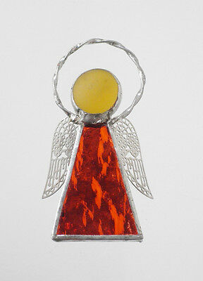 Leadlight Stained Glass Orange Angel Halo Silver wings handmade in Australia