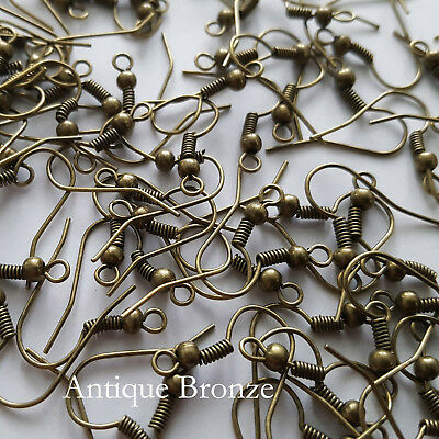 25 pairs - 50 Pieces Antique Bronze Shepherds Hook Earrings 18mm x 18mm