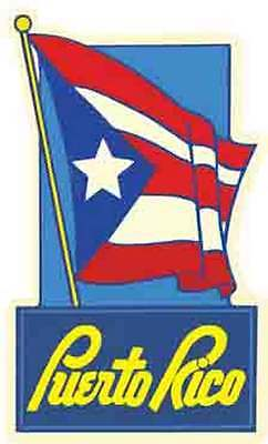 Puerto Rico   Flag   Vintage-Looking Travel Decal/Label/Sticker