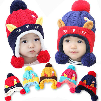 Baby Cotton Knit Hat Scarf Winter Warm Thickness Baby Hats for 6-48 Month Baby