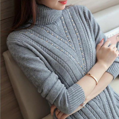 Winter Warm Sweater Bottom Knittedloose Turtleneck Thicken Lond Sleeve Blouse