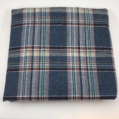 "Wool Blend Fabric 1.5 yards 60"" wide Plaid Skirt Weight Blue Brown White"