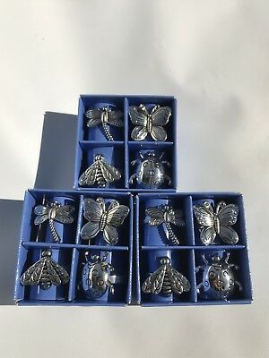 Set Of 12 Garden Life Silver Plated Napkin Rings Dragonfly Butterfly Bee Ladybug