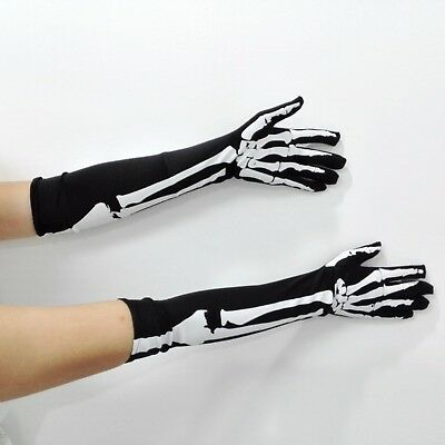 Skeleton Gloves Cosplay Props Dress Long Bone Sleeve Costume Accessory Halloween