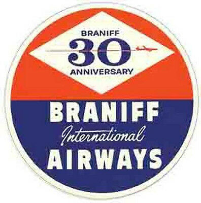 Braniff Airways  (1960)  Vintage-Looking  Airline Sticker/Decal/Luggage Label