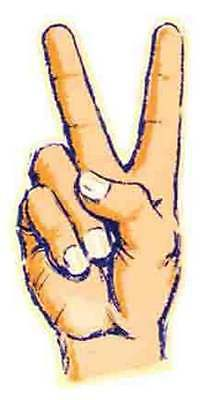 Hippy  Fingers/Peace Sign   Vintage-Looking  1960's  Travel Decal/Sticker