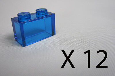 a9924. 12, Lego 1 x 2 Bricks - Clear Blue