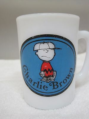 United Feature 1969 Avon Charlie Brown Coffee Mug Milkglass 3 1/2 Inches T25