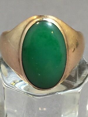 Antique 12k Gold Chinese Green Jade Mens Ring