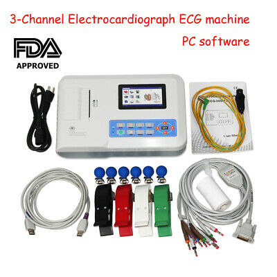 Digital 3 Channel 12 lead ECG/EKG machine+PC software Electrocardiograph 300G