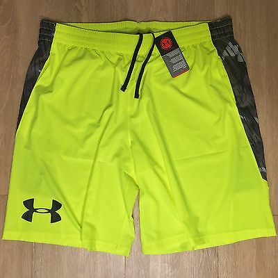 UNDER ARMOUR Mens Neon Yellow Gray Camo Loose Athletic Gym Shorts 2XL -MSRP $40