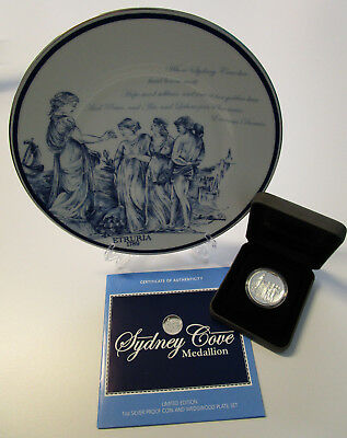 Sydney Cove Medallion Set - 1 oz Silber Proof Münze & Wedgewood Teller Set