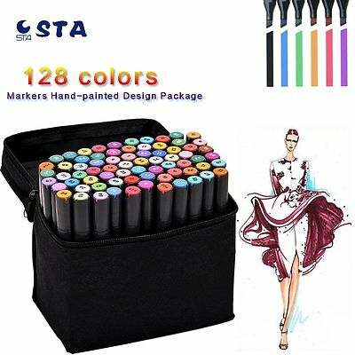 STA 80 128 Color Markers Daul Tips Oily Alcohol for Artist Animation Glove Gift