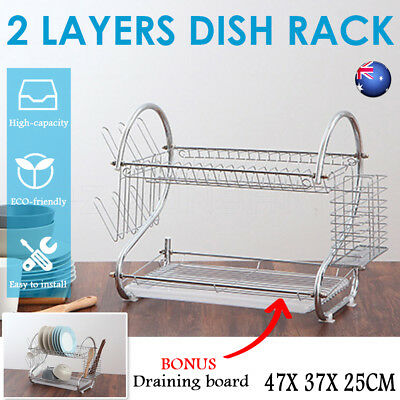2 Layer Steel Kitchen Dish Rack Cup Drying Drainer Tray Cutlery Holder Organiser