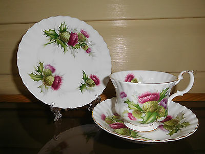 """Royal Albert """"Highland Thistle"""" Trio Made In England 1960s"""