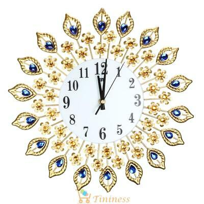 37cm Diamond Peacock Metal Art Wall Clock Living Room Wall Watch Home Wedding UK
